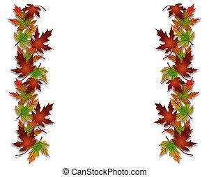 folhas, borda, outono, quadro, outono