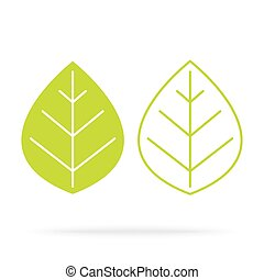 folhas, branca, verde, isolado, fundo
