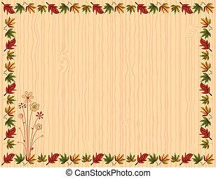 folhas, cartão, borda, saudação, outono