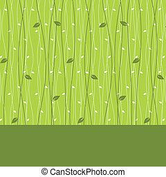 folhas, cartão, padrão, seamless, desenho