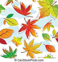 folhas, coloridos, seamless, outono