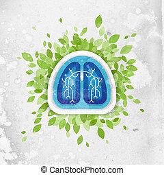 folhas, conceito, saúde, pulmões, ilustração