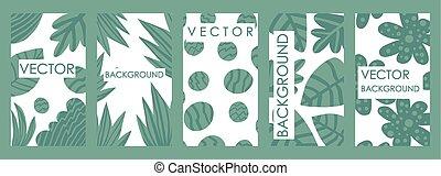 folhas, contemporâneo, convites, tropicais, modelo, cartão, design.