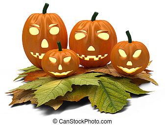 folhas, dia das bruxas, isolado, abóboras, outono, branca
