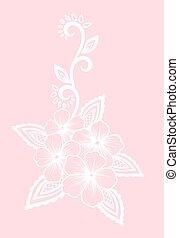 folhas, elemento, desenho, retro, floral, flores brancas, style., element.