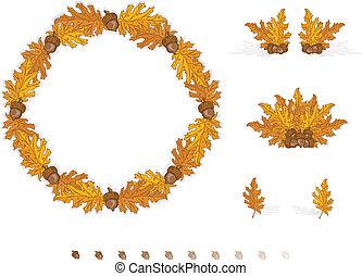 folhas, elementos, outono, desenho