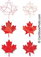folhas, emblema, maple, canadense