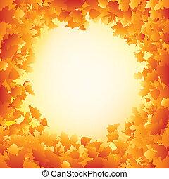 folhas, eps, outono, laranja, 8, quadro, design.