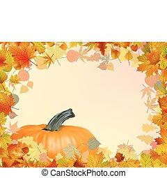 folhas, eps, pumpkin., outono, modelo, 8, cartão