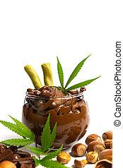 folhas, espalhar, jarro, marijuana, avelã