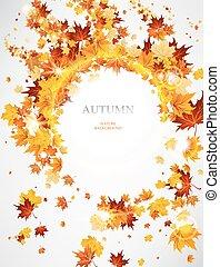 folhas, fundo, abstratos, outonal