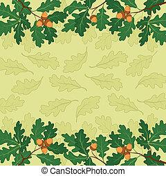 folhas, fundo, carvalho, ramo