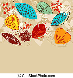 folhas, fundo, cores, luminoso, outono