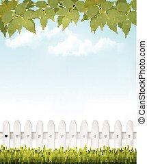 folhas, fundo, french., vector., verde, natureza, branca