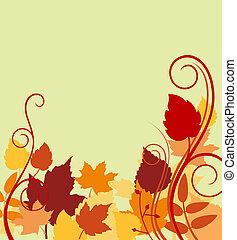 folhas, fundo, outonal, coloridos