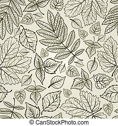 folhas, fundo, outono, seamless