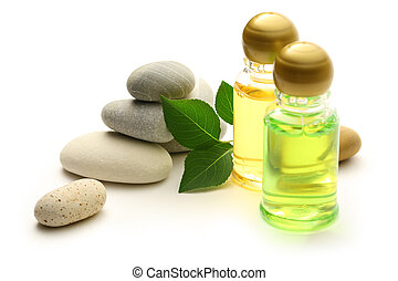 folhas, garrafas, shampoo, pedras