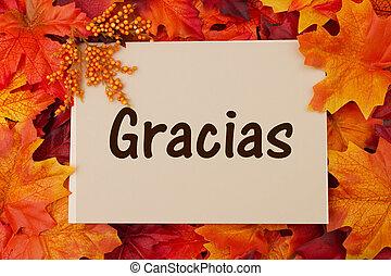 folhas, gracias, cartão, outono