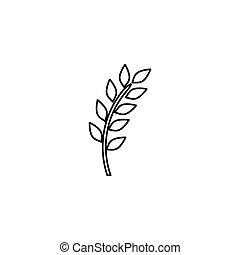 folhas, grinalda, ornamento