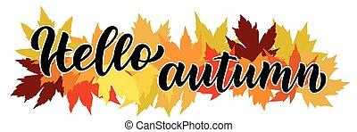 folhas, mão, outono, escrito, fundo, composição, olá, maple