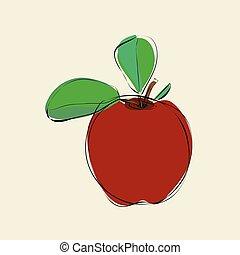 folhas, maçã vermelha, fundo, bege