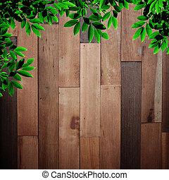 folhas, madeira, antigas, fundo