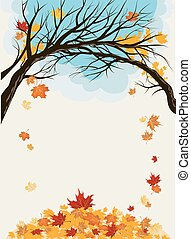 folhas, maple, fundo
