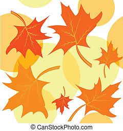 folhas, maple, seamless, fundo, outonal