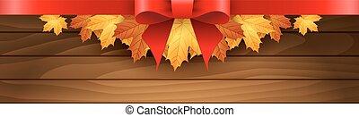 folhas, maples, outono, borda