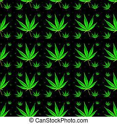 folhas, marijuana, fundo, seamless