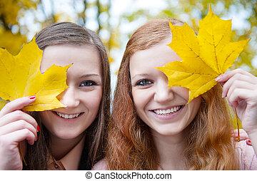 folhas, meninas, dois, atrás de, caras, maple, escondendo