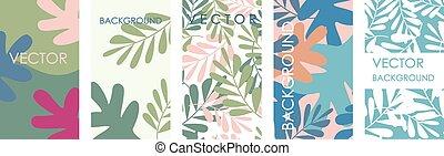folhas, modernos, convites, tropicais, modelo, cartão, design.