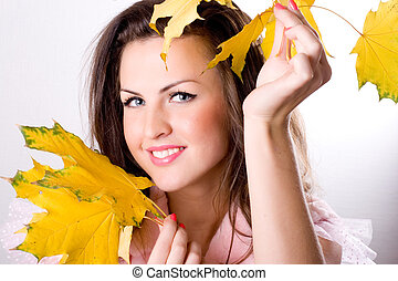folhas, mulher, amarela