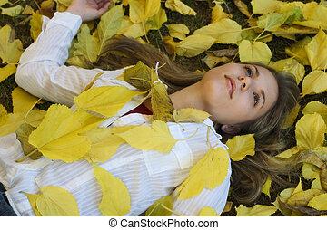 folhas, mulher