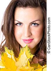 folhas, mulher, jovem, amarela