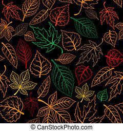 folhas, outonal, fundo, seamless