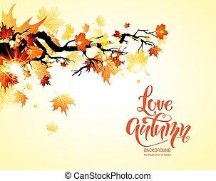 folhas, outono, maple, banner.