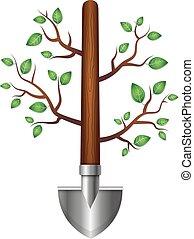 folhas, pá, ramos, jardim