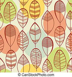 folhas, padrão, seamless
