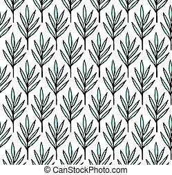folhas, padrão, trópico, verão, verde, seamless