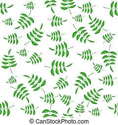 folhas, padrão, verão, verde, seamless
