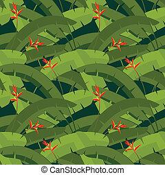 folhas palma, com, flores, seamless, padrão