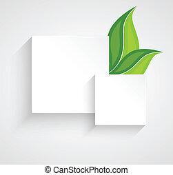folhas, papel, quadrados, dois