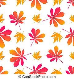 folhas, pattern., outonal, seamless, maple, chestnut.