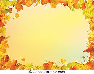 folhas, quadro, outono