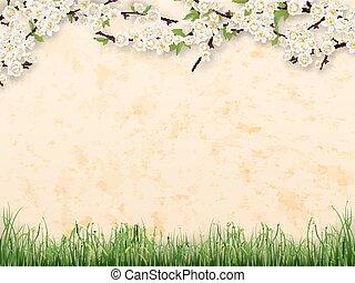 folhas, ramos, flores, parede stucco