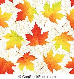 folhas, seamless, ilustração, outono, experiência., vetorial