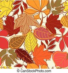 folhas, seamless, mão, outono, fundo, desenhado