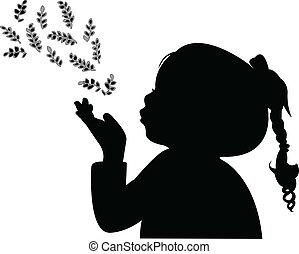 folhas, soprando, silhoue, criança, saída