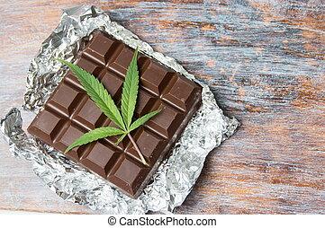 folhas, topo, marijuana, chocolate